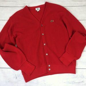 Vintage Men's Lacoste IZOD 80's Cardigan Sweater